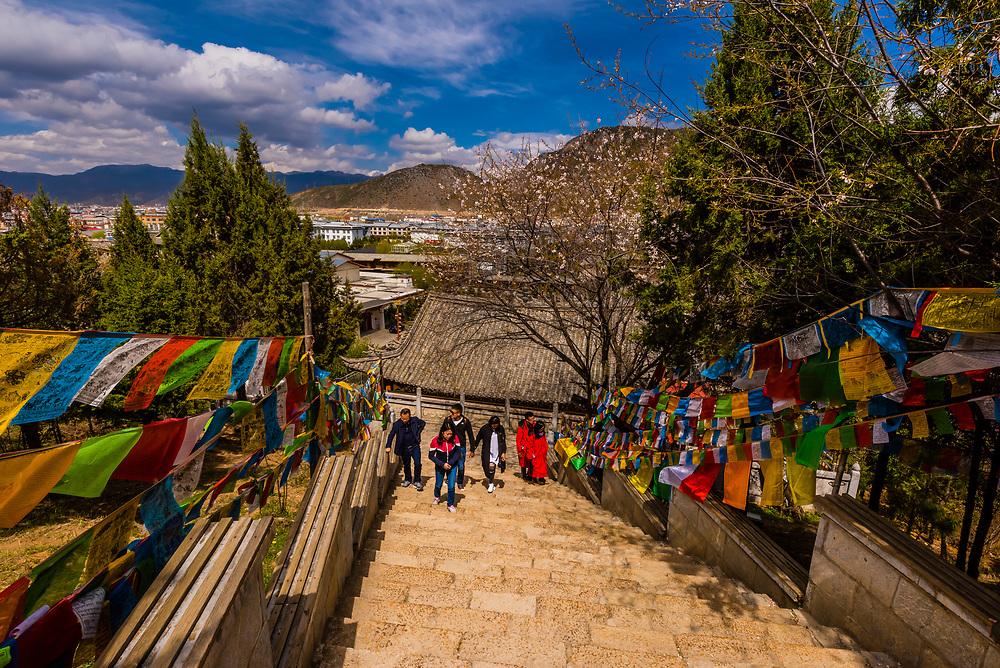 Stairs leading to the Guishan Gongyuan Temple, Shangri La (Zhongdian), Yunnan Province, China.