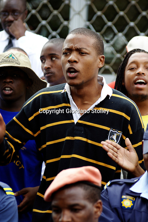 DURBAN - 24 July 2007 - The Durban Univerity of Technology's student representative council president Thami Shezi addresses protesting students outside the offices of the vice chancellor of the institution. The students are demanding that the institution write off R17 million in unpaid student fees..Picture: Giordano Stolley/Allied Picture Press