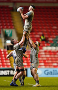 Sale Sharks flanker Jono Ross catches a line-out during a Gallagher Premiership Round 7 Rugby Union match, Friday, Jan. 29, 2021, in Leicester, United Kingdom. (Steve Flynn/Image of Sport)