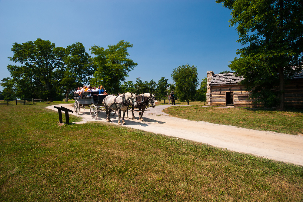 Tourists have a tour on former president Andrew Jackson's Hermitage in Tennessee, USA. Slave huts were once home for 150 slaves.