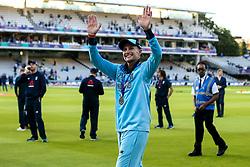 Joe Root of England celebrates winning the ICC Cricket World Cup - Mandatory by-line: Robbie Stephenson/JMP - 14/07/2019 - CRICKET - Lords - London, England - England v New Zealand - ICC Cricket World Cup 2019 - Final