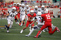 02 September 2017:   Spencer Schnell gets surrounded by the Bulldog defense which eventually ends his advance during the Butler Bulldogs at  Illinois State Redbirds Football game at Hancock Stadium in Normal IL (Photo by Alan Look)