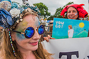 Campaigners try to stop people peeing in the bushes to improve water quality in the area - The 2016 Glastonbury Festival, Worthy Farm, Glastonbury.
