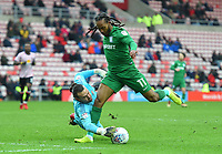 Sunderland's Lee Camp gets a hand to the ball stopping Preston's Daniel Johnson from scoring<br /> <br /> Photographer Jonathan Hobley/CameraSport<br /> <br /> The EFL Sky Bet Championship - Sunderland v Preston North End - Saturday 17th March 2018 - Stadium of Light - Sunderland<br /> <br /> World Copyright © 2018 CameraSport. All rights reserved. 43 Linden Ave. Countesthorpe. Leicester. England. LE8 5PG - Tel: +44 (0) 116 277 4147 - admin@camerasport.com - www.camerasport.com