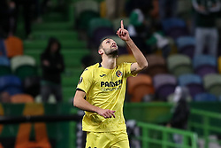 February 14, 2019 - Lisbon, Portugal - Villarreal's defender Alfonso Pedraza celebrates after scoring a goal during the UEFA Europa League Round of 32 First Leg football match Sporting CP vs Villarreal CF at Alvalade stadium in Lisbon, Portugal on February 14, 2019. (Credit Image: © Pedro Fiuza/NurPhoto via ZUMA Press)