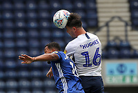 Preston North End's Andrew Hughes  jumps with Cardiff City's Nathaniel Mendz-Laing<br /> <br /> Photographer Mick Walker/CameraSport<br /> <br /> The EFL Sky Bet Championship - Preston North End v Cardiff  City - Saturday 27th June 2020 - Deepdale Stadium - Preston<br /> <br /> World Copyright © 2020 CameraSport. All rights reserved. 43 Linden Ave. Countesthorpe. Leicester. England. LE8 5PG - Tel: +44 (0) 116 277 4147 - admin@camerasport.com - www.camerasport.com