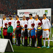 Galatasaray's players during their Turkish superleague soccer derby match Trabzonspor between Galatasaray at the Avni Aker Stadium in Trabzon Turkey on Sunday, 23 December 2012. Photo by TURKPIX