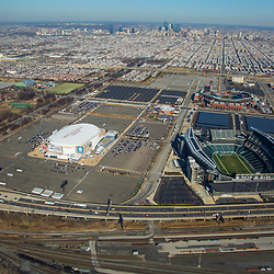 Aerial view of the Philadelphia Sports Complex skyline.