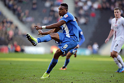 Peterborough United's Britt Assombalonga scores from the penalty spot - Photo mandatory by-line: Joe Dent/JMP - Mobile: 07966 386802 15/03/2014 - SPORT - FOOTBALL - Milton Keynes - Stadium MK - MK Dons v Peterborough United - Sky Bet League One