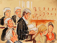 ©Priscilla Coleman ITV News 22.07.05.Supplied by: Photonews Service Ltd Old Bailey.Pic shows: Closing speeches in the Roman Polanski libel trial at the High Court, London. Polanski today won his case against Vanity Fair magazine and was awarded £50,000. See story.Illustration: Priscilla Coleman ITV News