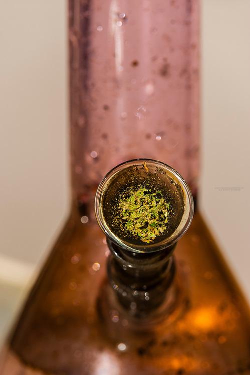 A bong with marijuana, Littleton, Colorado USA.