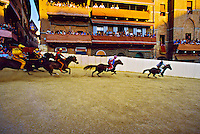 The Palio (medieval horse race), Il Campo (Central Plaza), Siena, Tuscany, Italy