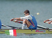Tampere Kaukajaervi,  FINLAND.  Men's Lightweight Four,  ITALM4-.  Carlo GADDI, Leonardo PETTINARI, Andrea RE, Ivano ZASIO , competing at the 1995 World Rowing Championships - Lake Tampere, 08.1995<br /> <br /> [Mandatory Credit; Peter Spurrier/Intersport-images] Re-Edited and file ref No. updated, 16th January 2021.