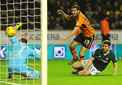Leo Bonatini of Wolverhampton Wanderers's shot is saved by Daniel Bentley of Brentford-Mandatory by-line: Nizaam Jones/JMP - 02/01/2018 - FOOTBALL - Molineux - Wolverhampton, England- Wolverhampton Wanderers v Brentford -Sky Bet Championship