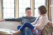 Steve Baker and Liza Baker (9), in the Baker family living room. Pickwell Manor, Georgeham, North Devon, UK.<br /> CREDIT: Vanessa Berberian for The Wall Street Journal<br /> HOUSESHARE