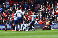 Red card - Son Heung-Min (7) of Tottenham Hotspur is surrounded by Bournemouth players after punching Jefferson Lerma (8) of AFC Bournemouth and being sent off during the Premier League match between Bournemouth and Tottenham Hotspur at the Vitality Stadium, Bournemouth, England on 4 May 2019.