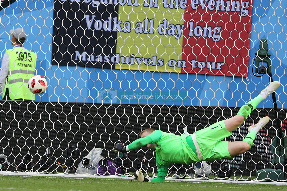 July 14, 2018 - St. Petersburg, Russia - July 14, 2018, St. Petersburg, FIFA World Cup 2018, Football match for the third place in the World Cup. Football match of Belgium - England at the stadium of St. Petersburg. Player of the national team Jordan Pickford; Goal; (Credit Image: © Russian Look via ZUMA Wire)