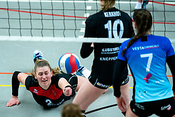 Elles Dambrink of VCN in action during the first league match between Djopzz Regio Zwolle Volleybal - Laudame Financials VCN on February 27, 2021 in Zwolle.