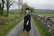 """18/04/2017 REPRO FREE:  <br /> MA Student Angel Cray who graduated  at the 13th conferring ceremony, held in the Minstrels gallery the 16th century Newtown Castle at the heart of the BCA campus, exemplifies the continued success of the Burren's  alternative model of art education . <br /> The Irish and  international graduates included Elizabeth Matthews, conferred with  a PhD for her research on Utopian studies , and six international graduates whose work on display in the BCA gallery addressed the ultimate question, """"who am I called to be"""" In her address President of the college Mary Hawkes Greene referred to the unique place based educational  model  committed to  individual student centred  education accredited by NUIGalway , and how it effectively  embraces the often conflicting forces of the global and the local, the public and the private as well as the collective and the individual. <br /> .  Photo:Andrew Downes, xposure"""
