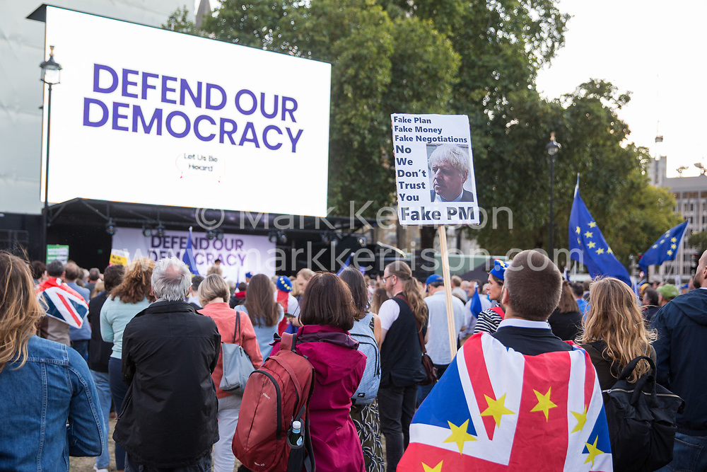 London, UK. 4 September, 2019. Thousands of Remain supporters attend a Defend Our Democracy rally in Parliament Square shortly after MPs passed the Brexit delay bill in the House of Commons.