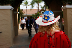 November 3, 2017 - San Diego, CA, USA - A fan sports a Texas themed hat during the Breeders' Cup at the Del Mar Thoroughbred Club on Friday, Nov. 3, 2017.  (Photo by K.C. Alfred/The San Diego Union-Tribune (Credit Image: © K.C. Alfred/San Diego Union-Tribune via ZUMA Wire)