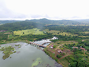An aerial view of the Lawpita Hydropower dam and the Bilu river in Kayah State, Myanmar on 11th November 2016. The Lawpita Dam was built in 1950 amidst controversy and was the first large-scale hydropower project in Myanmar and is still an important electricity source for Central Myanmar