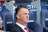Louis van Gaal manager of Manchester United takes his seat in the dugout - Barclays Premier League - Manchester City vs Manchester Utd - Etihad Stadium - Manchester - England - 2nd November 2014  - Picture David Klein/Sportimage