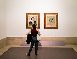 Visitor looking at paintings The Woman of Arles and The Gardener by Vincent Van Gogh at National Gallery of Modern and Contemporary Art Rome Italy