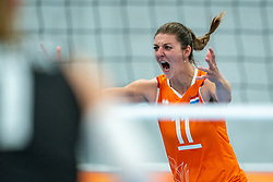 Anne Buijs of Netherlands celebrate during the Women's friendly match between Netherlands and Belgium at Sporthal De Basis on may 19, 2021 in Sliedrecht, Netherlands (Photo by RHF Agency/Ronald Hoogendoorn)