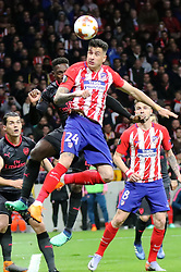 MADRID, May 4, 2018  Atletico de Madrid's Gimenez (Front) competes during the UEFA Europa League semifinal second leg soccer match between Atletico Madrid and Arsenal in Madrid, Spain, on May 3, 2018. Atletico Madrid won 1-0. Atletico Madrid advanced to the final with 2-1 on aggregate. (Credit Image: © Edward Peters Lopez/Xinhua via ZUMA Wire)