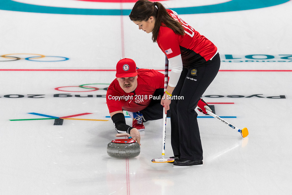 Rebecca and Matt Hamilton (USA) competing in the Mixed Doubles Curling round robin at the Olympic Winter Games PyeongChang 2018