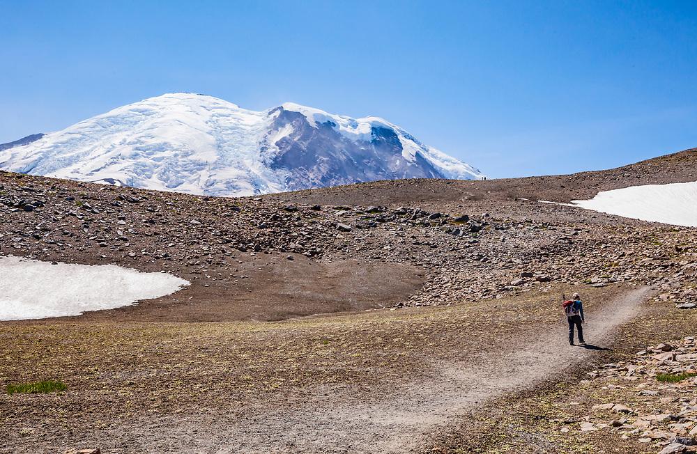 People hiking 3rd Burroughs Mountain, Rainier National Park, Washington, USA