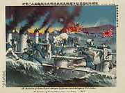 Russo-Japanese War 1904-1905: The destruction of Russian torpedo boats by Japanese torpedo boats at the Battle of Port Arthur, February 1904. Naval Warfare Hand-to-Hand Fighting