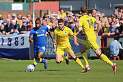 AFC Wimbledon striker Dominic Poleon (10) dribbling and starting an attack during the EFL Sky Bet League 1 match between AFC Wimbledon and Bristol Rovers at the Cherry Red Records Stadium, Kingston, England on 8 April 2017. Photo by Matthew Redman.