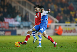 Marlon Pack of Bristol City is challenged by Erhun Oztumer of Peterborough United - Photo mandatory by-line: Rogan Thomson/JMP - 07966 386802 - 28/11/2014 - SPORT - FOOTBALL - Peterborough, England - ABAX Stadium - Peterborough United v Bristol City - Sky Bet League 1.