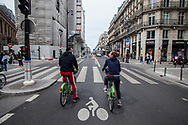 The city major of Paris, Anne Hidalgo, is trying to implement the use of bicycles to reduce the contagious of the Covid19. Downtown, Rue Rivoli is now a bike path.