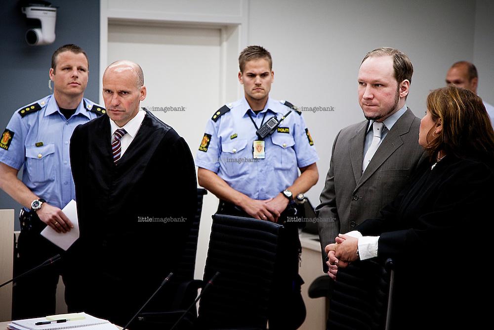 Oslo, Norway, 04.06.2012. Anders behring Breivik in court. Photo: Christopher Olssøn.