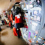 Inside ski patrol headquartes in Corbet's Cabin at the top of the Tram at Jackson Hole Mountain Resort, Teton Village, Wyoming.