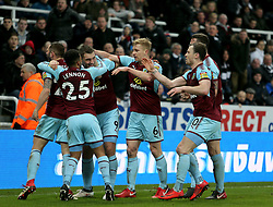 Burnley's Sam Vokes celebrates their first goal with his team-mates