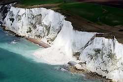 Image ©Licensed to i-Images Picture Agency. Aerials kent views.<br /> Landslip in the White Cliffs of Dover. Picture by i-Images