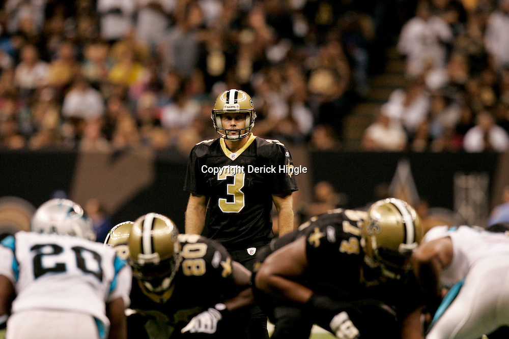Nov 08, 2009; New Orleans, LA, USA;  New Orleans Saints PK John Carney (3) lines up for a field goal against the Carolina Panthers during the second half at the Louisiana Superdome. The Saints defeated the Panthers 30-20. Mandatory Credit: Derick E. Hingle