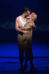 """© Licensed to London News Pictures. 16/10/2013. London, England. Pictured: Rebecca Thornhill as Karen and Darius Campbell as Warden. The Musical """"From Here to Eternity"""" opens at the Shaftesbury Theatre on 23 October 2013 starring Darius Campbell, Siubhan Harrison, Robert Lonsdale and Rebecca Thornhill. This brand new musical is directed by Tamara Harvey and lyrics by Tim Rice, music by Stuart Brayson and script by Bill Oakes. Photo credit: Bettina Strenske/LNP"""