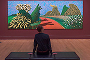 May Blossom on the Roman Road, 2009 - David Hockney, a major new retrospective, at Tate Britain's. It includes more than 200 works and celebrates Hockney's achievement in painting, drawing, print, photography and video. As he approaches his 80th birthday, this exhibition offers an unprecedented overview of the artist's 60-year career. It runs from 9 Feb to 29 May 2017. London 06 Feb 2017.