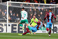 Plymouth Argyll midfielder Antoni Sarcevic (7) is through on goal and shoots  during the EFL Sky Bet League 1 match between Scunthorpe United and Plymouth Argyle at Glanford Park, Scunthorpe, England on 27 October 2018. Pic Mick Atkins