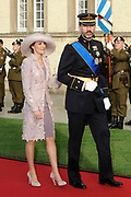 Religious wedding of Grand Duke Guillaume and Princess Stephanie at the Cathedral Notre-Dame in Luxembourg <br /> <br /> On the photo:  Princess Letizia and Prince Felipe