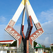 A monument commemorating Lao independence in downtown Sam Neua (also spelled Samneua, Xamneua and Xam Neua) in northeastern Laos.