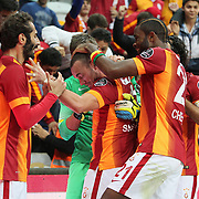 Galatasaray's Wesley Sneijder (C) celebrate his goal with team mate during their Turkish superleague soccer derby match Galatasaray between Fenerbahce at the AliSamiYen spor kompleksi TT Arena in Istanbul Turkey on Saturday, 18 october 2014. Photo by Aykut AKICI/TURKPIX