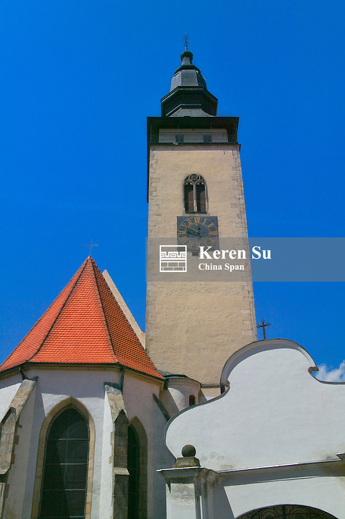 Old town square surrounded by 16th-century Renaissance houses, Telc, Moravia, Czech Republic