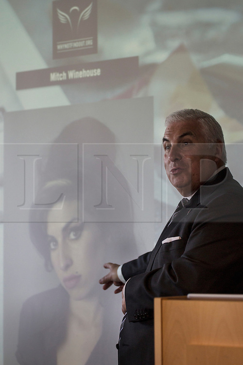 © licensed to London News Pictures. London, UK 16/10/2012. Mitch Winehouse, father of Amy Winehouse, speaking the launch of The Find Out campaign at the Deutsche Bank, London. The Angelus Foundation and its The Find Out campaign highlighting the risks of 'legal highs' and club drugs and encourage young people to make responsible choices. Photo credit: Tolga Akmen/LNP