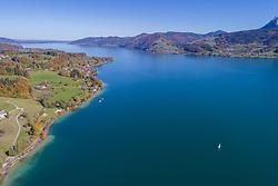Luftaufnahme vom Wolfgangsee, Oesterreich / Aerial View from Lake Wolfgangsee, Austria